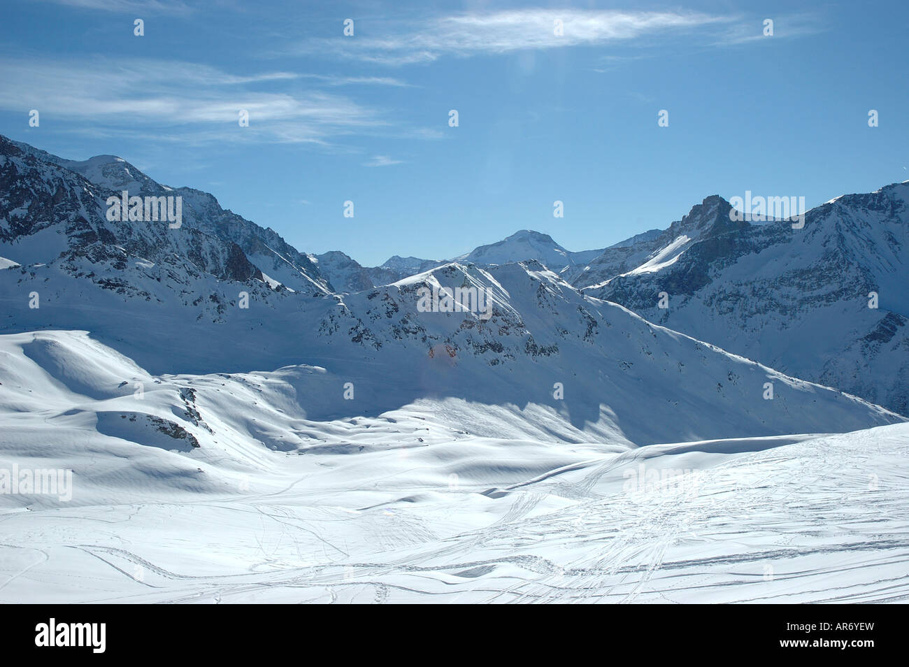 Snow covered mountain in the Alps, France, winter - Stock Image