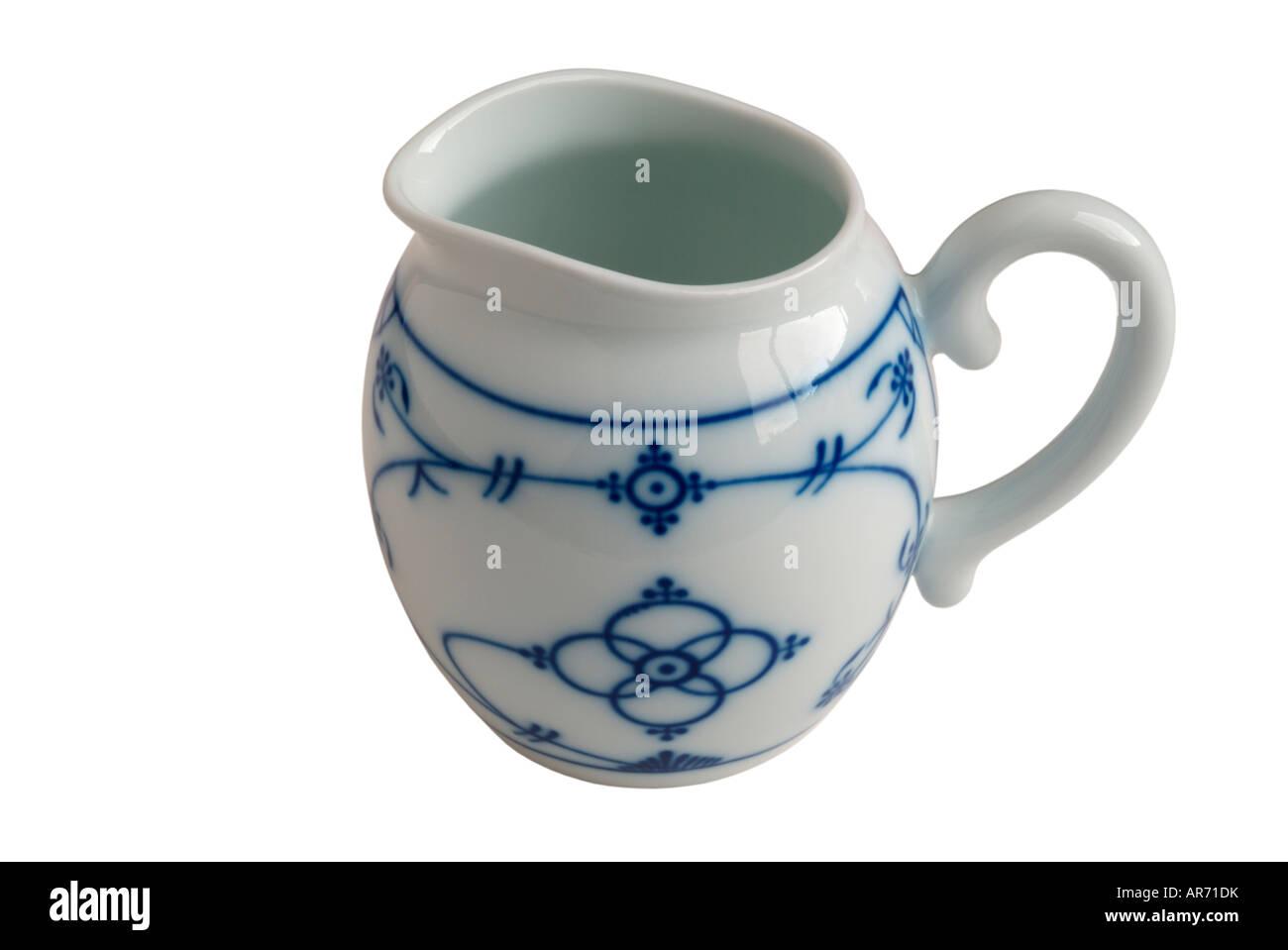 Blue and white Gerold Porzellan German pottery jug - Stock Image