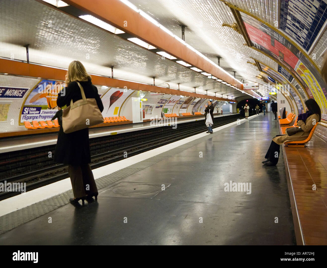 Paris Metro station platform at Place Monge, Paris, France - Stock Image