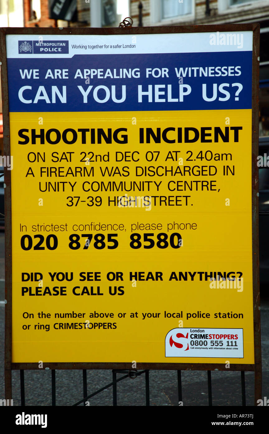 Police notice appealing for witnesses to an incident where a firearm