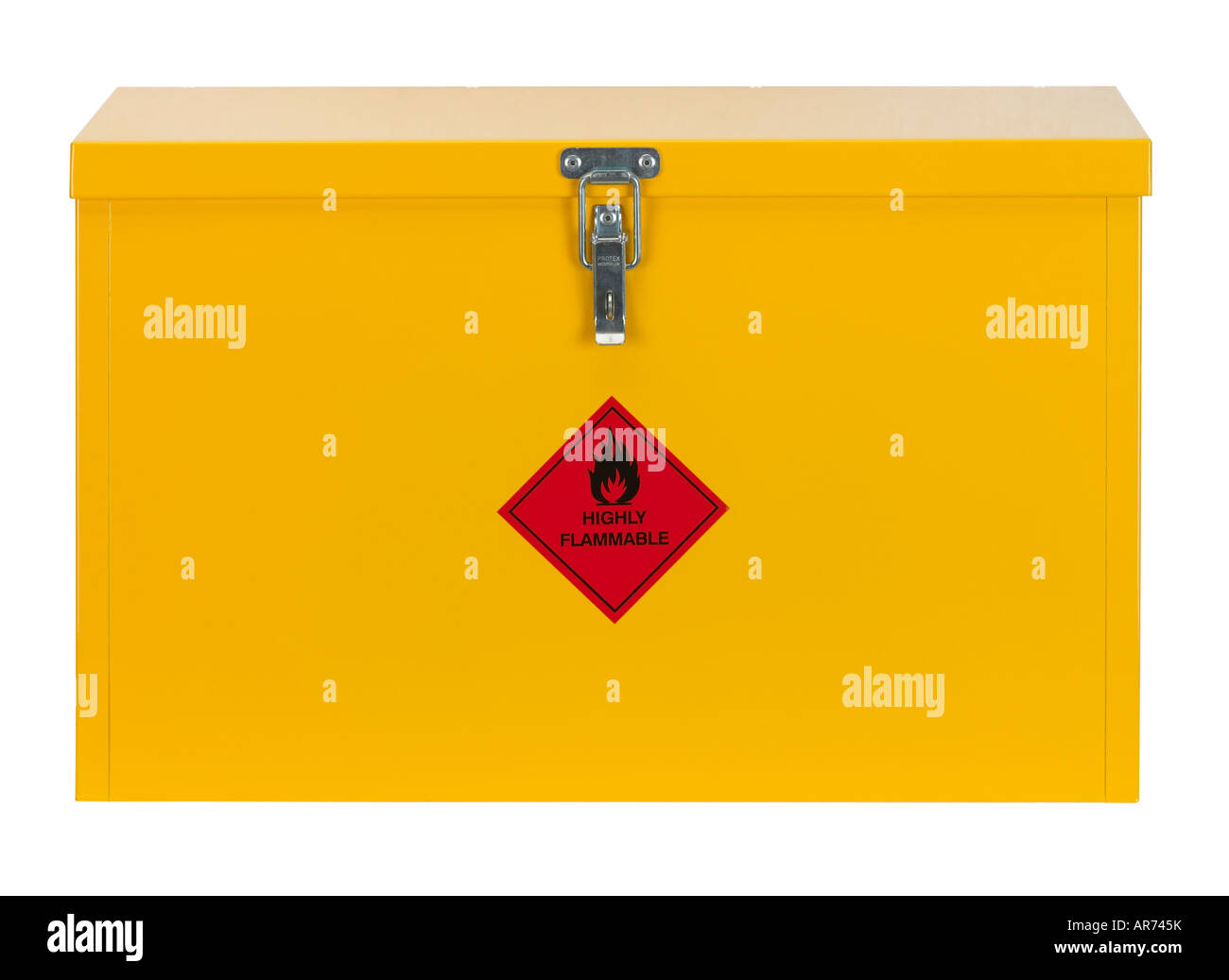 YELLOW STEEL CABINET WITH FLAMMABLE WARNING SIGN ON FRONT - Stock Image