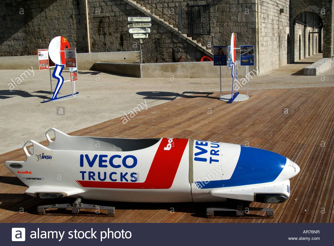 Shuss et bobsleigh commémorant le quarantième anniversaire des Jeux Olympiques de 1968 à Grenoble - Stock Image