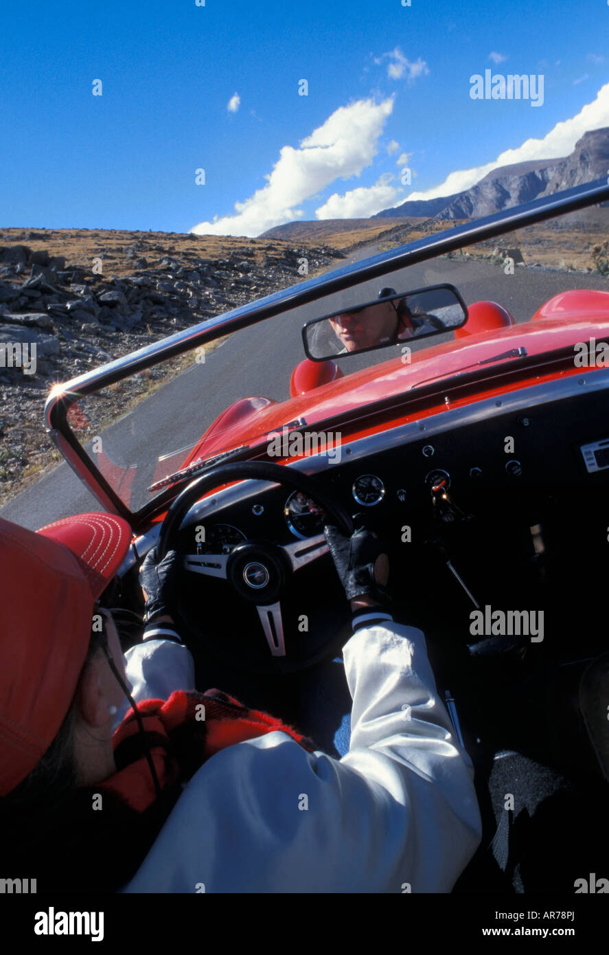 Mt. Evans Scenic Byway from 1961Austin Healey Sprite,Colorado. - Stock Image