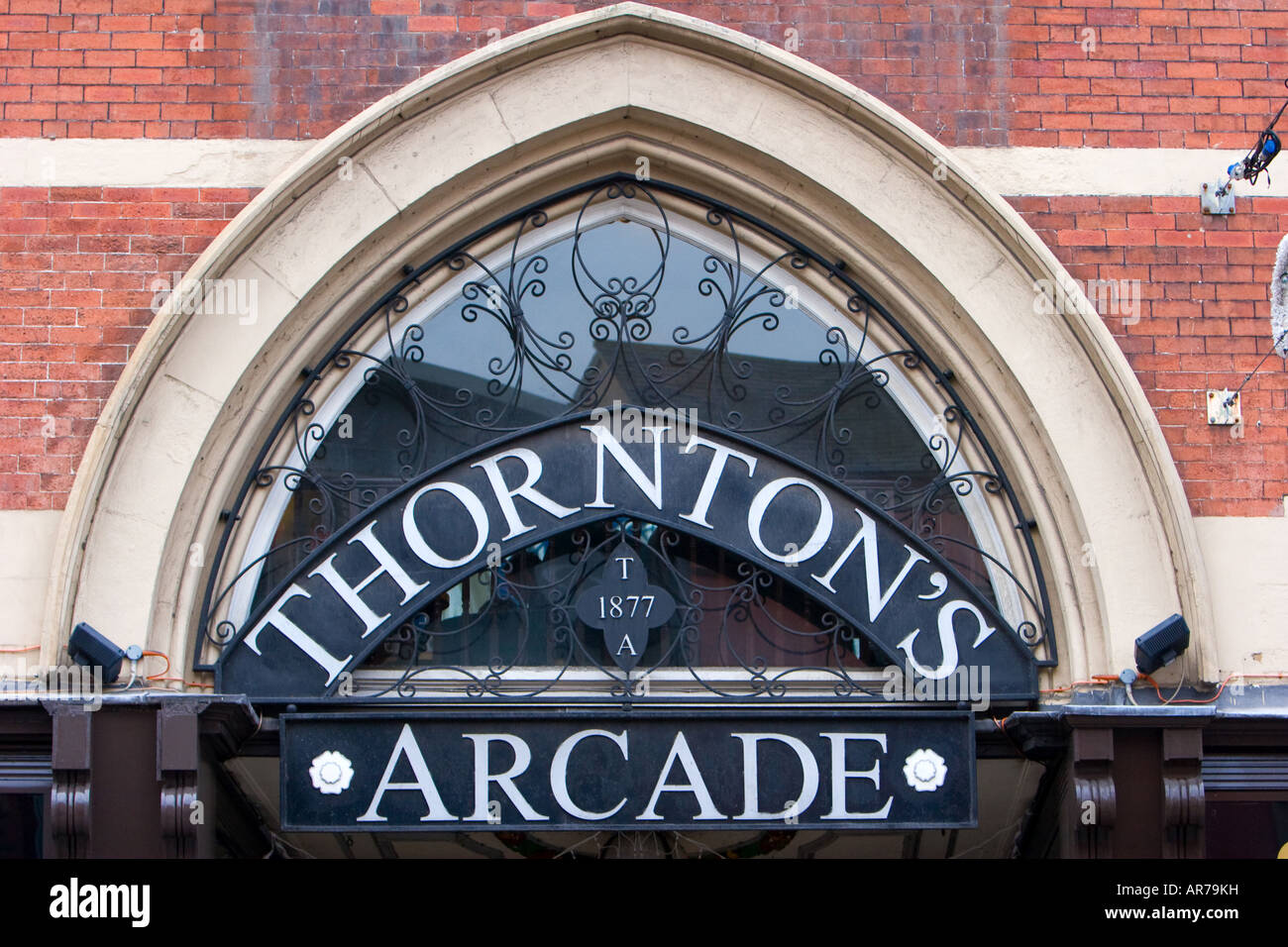 Entrance sign to Thornton's Arcade in Leeds UK December 12 2007 - Stock Image