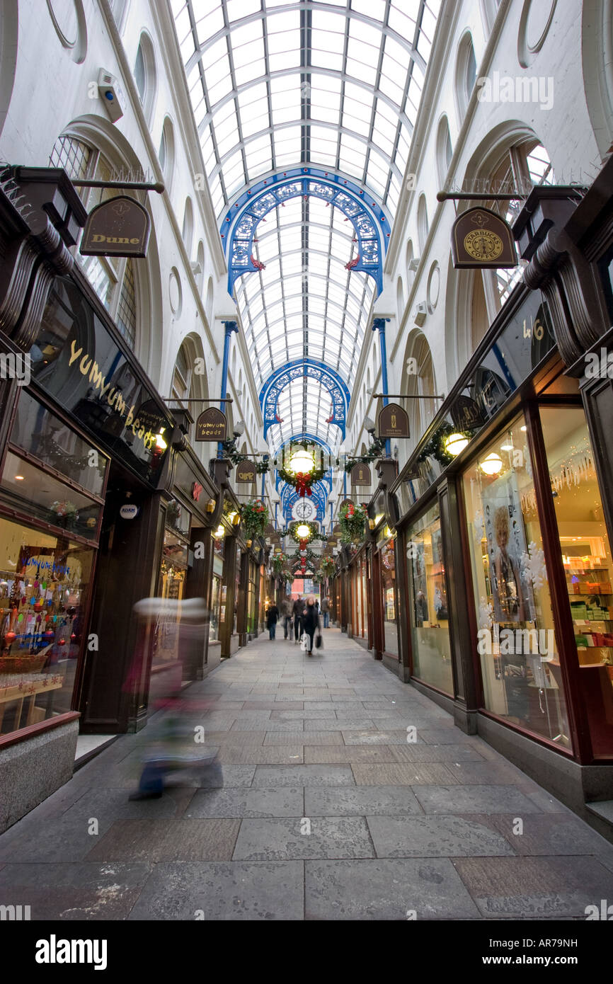 The interior of Thornton's Arcade shopping center on Briggate street in Leeds UK December 12, 2007 - Stock Image