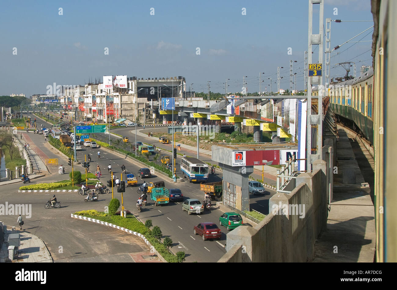 I T corridor served by a new road and overground rail network in Chennai Tamil Nadu India - Stock Image
