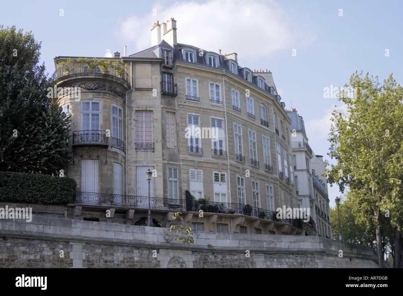Hotel Lambert 17th century mansion building on Quai d Anjou on Isle de Saint Louis and islend on the River Seine Paris - Stock Image