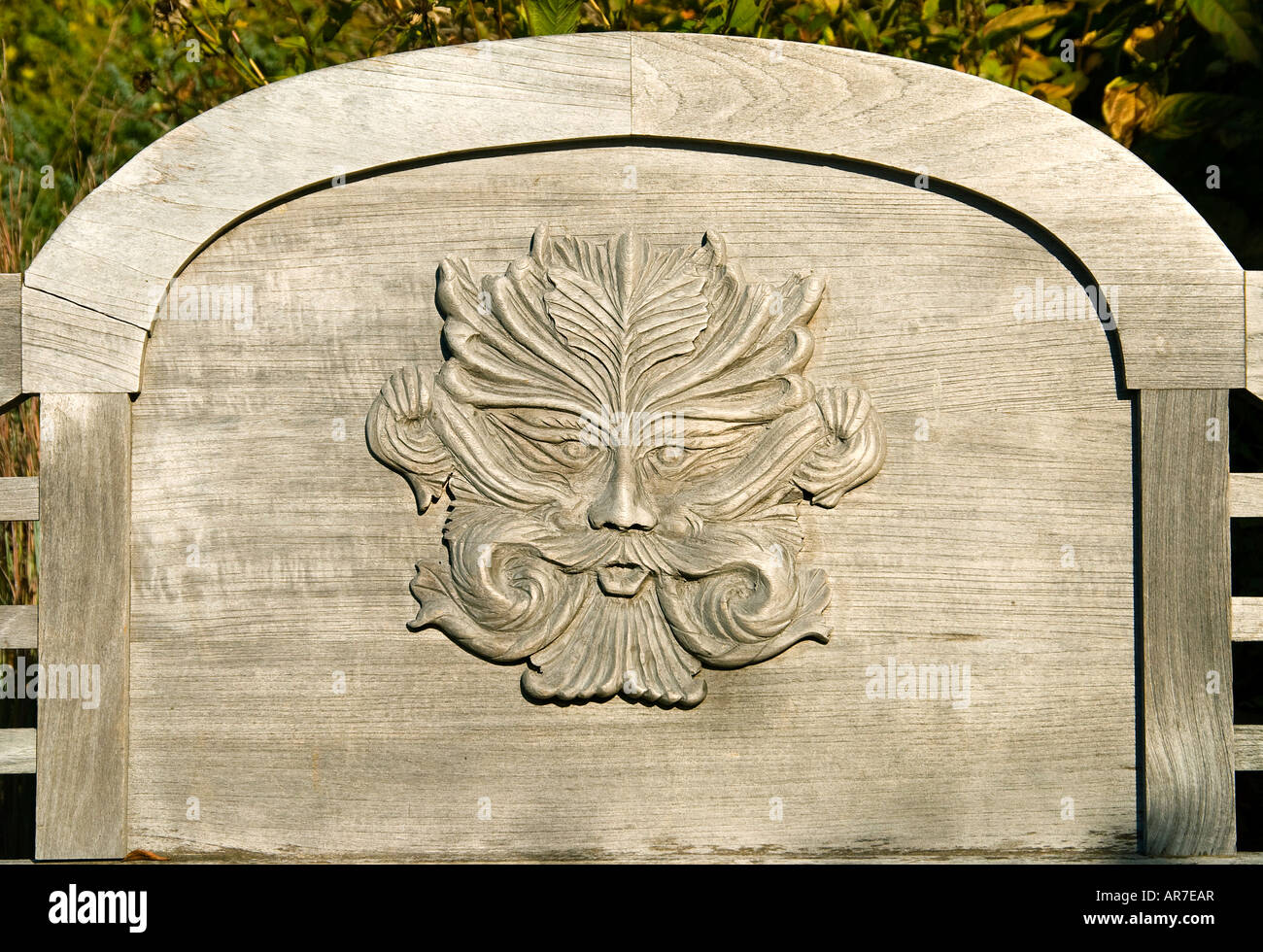 Wood carving in bench backrest stock photo: 15963934 alamy