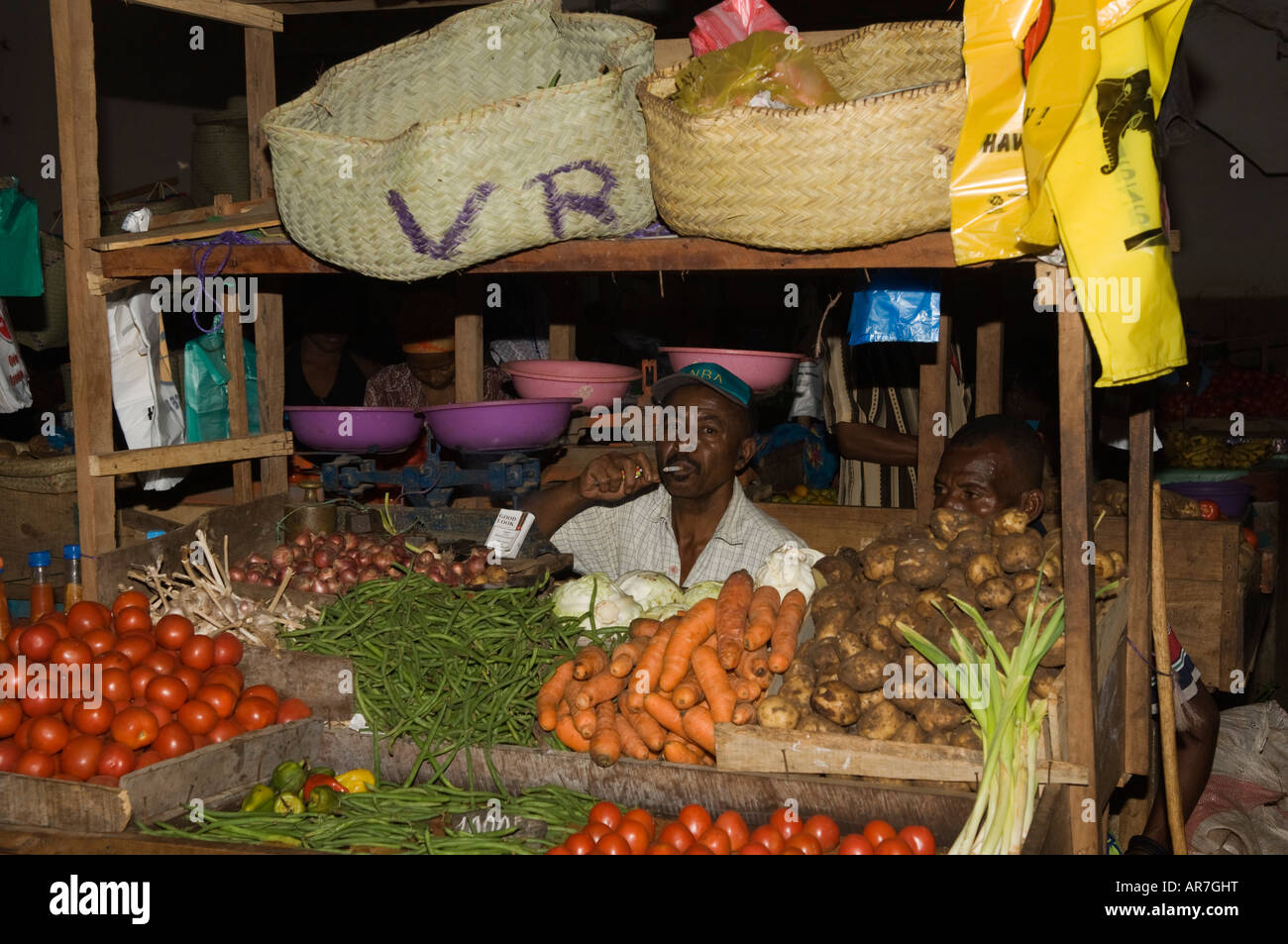 market, Hell-Ville, Nosy Be, Madagascar - Stock Image