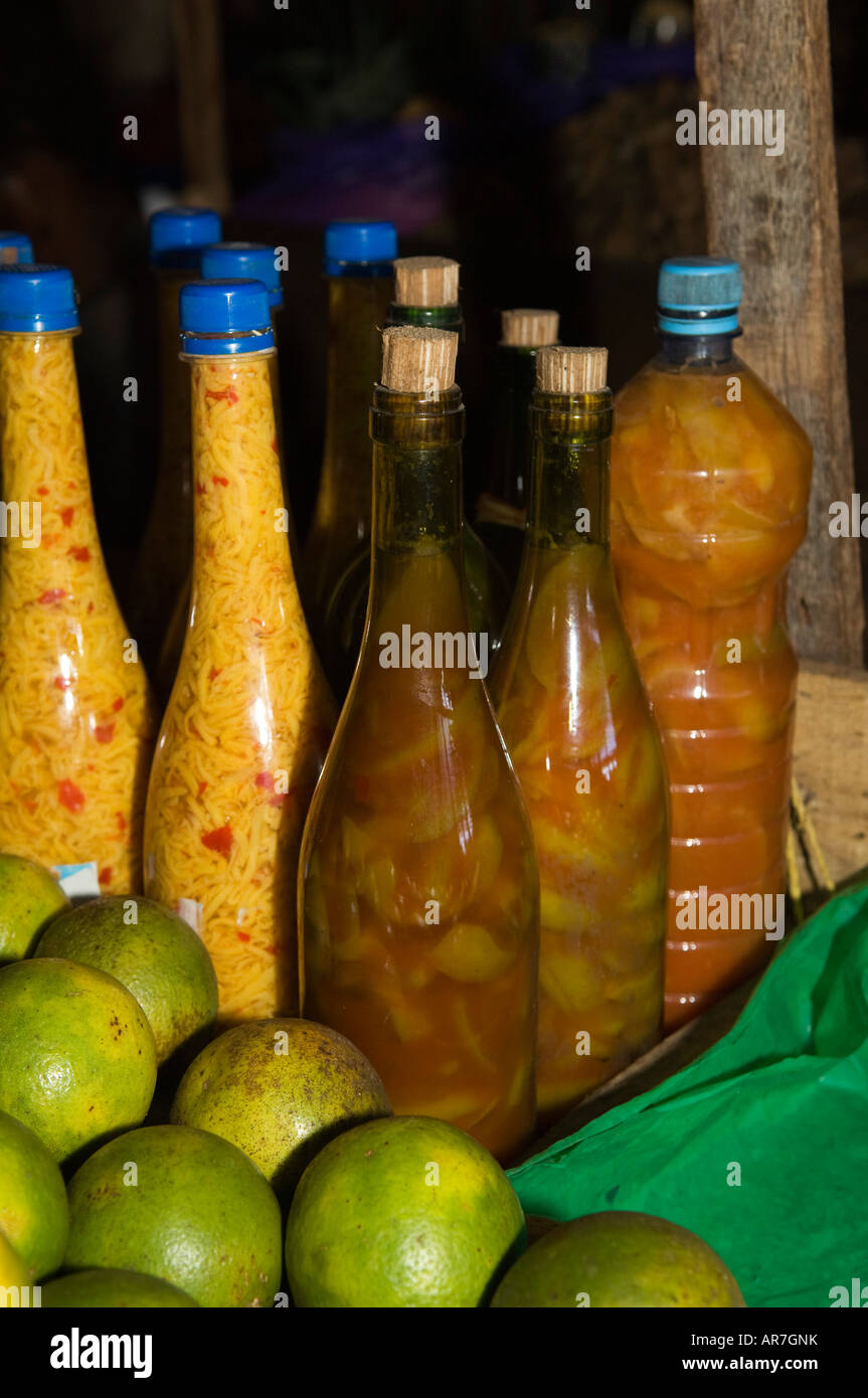 local rum in the market, Hell-Ville, Nosy Be, Madagascar - Stock Image