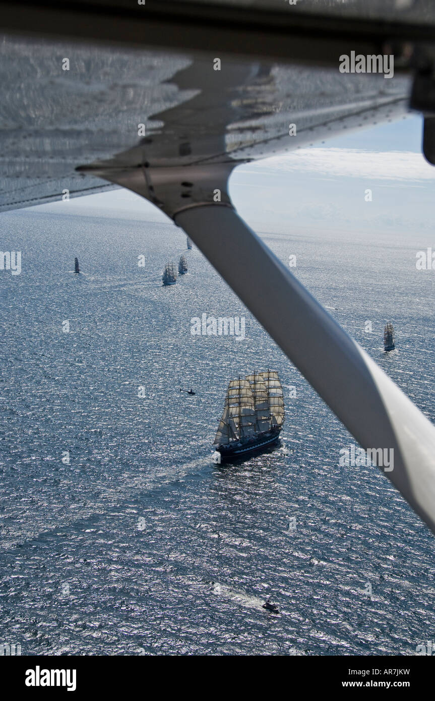 Tall Ships Race 2007, The worlds largest sailing ship the Russian bark Sedov leaves Swedish waters and sails to - Stock Image