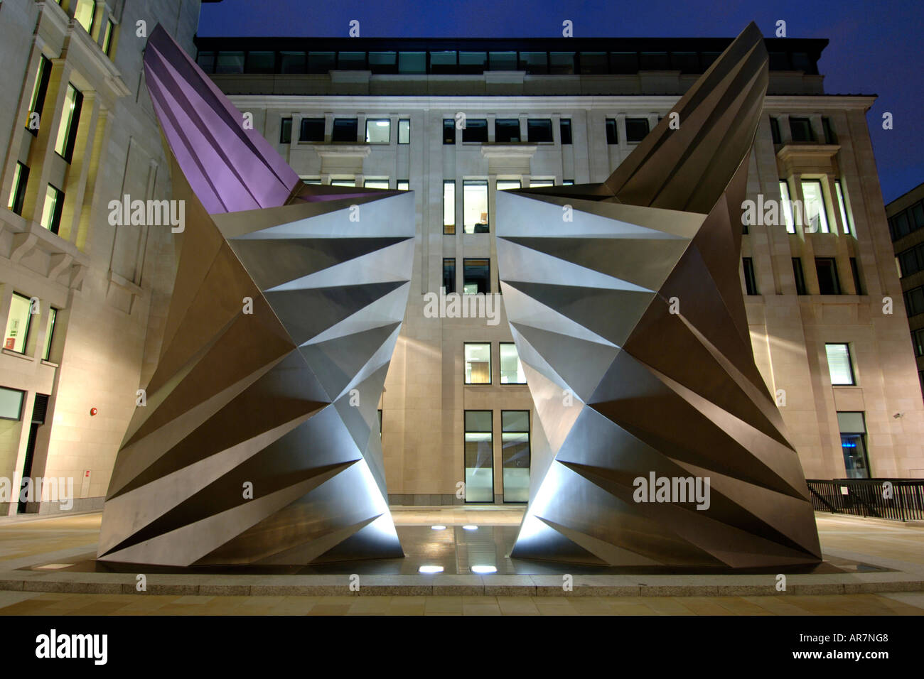 Modern art sculpture near St Paul's cathedral in London. - Stock Image