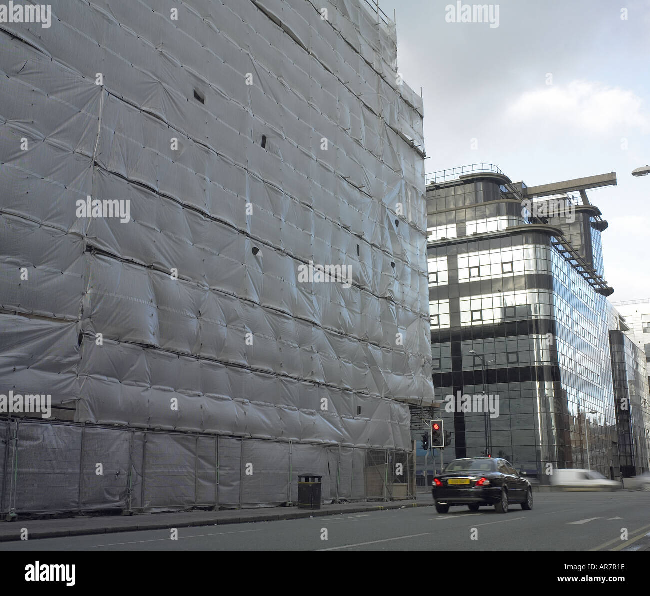 Plastic wrap construction on Ancoats building Manchester - Stock Image
