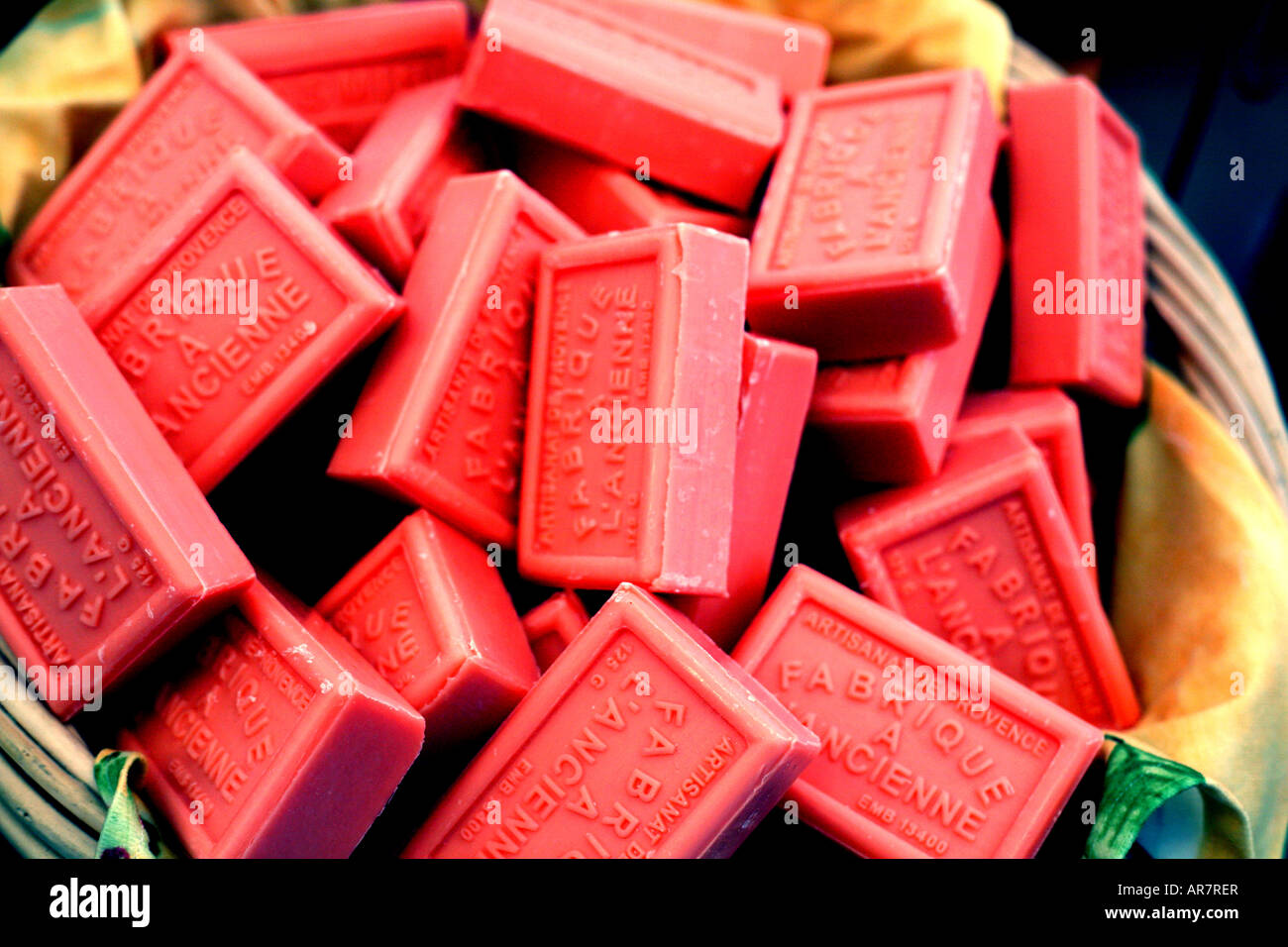 French soap on sale in market Stock Photo