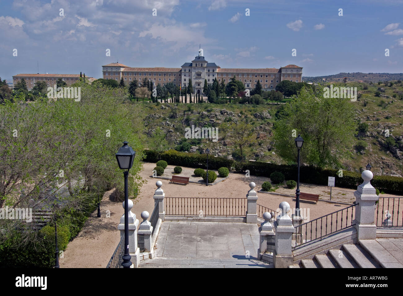 Staircase and view on Academia,Toledo, Spain - Stock Image
