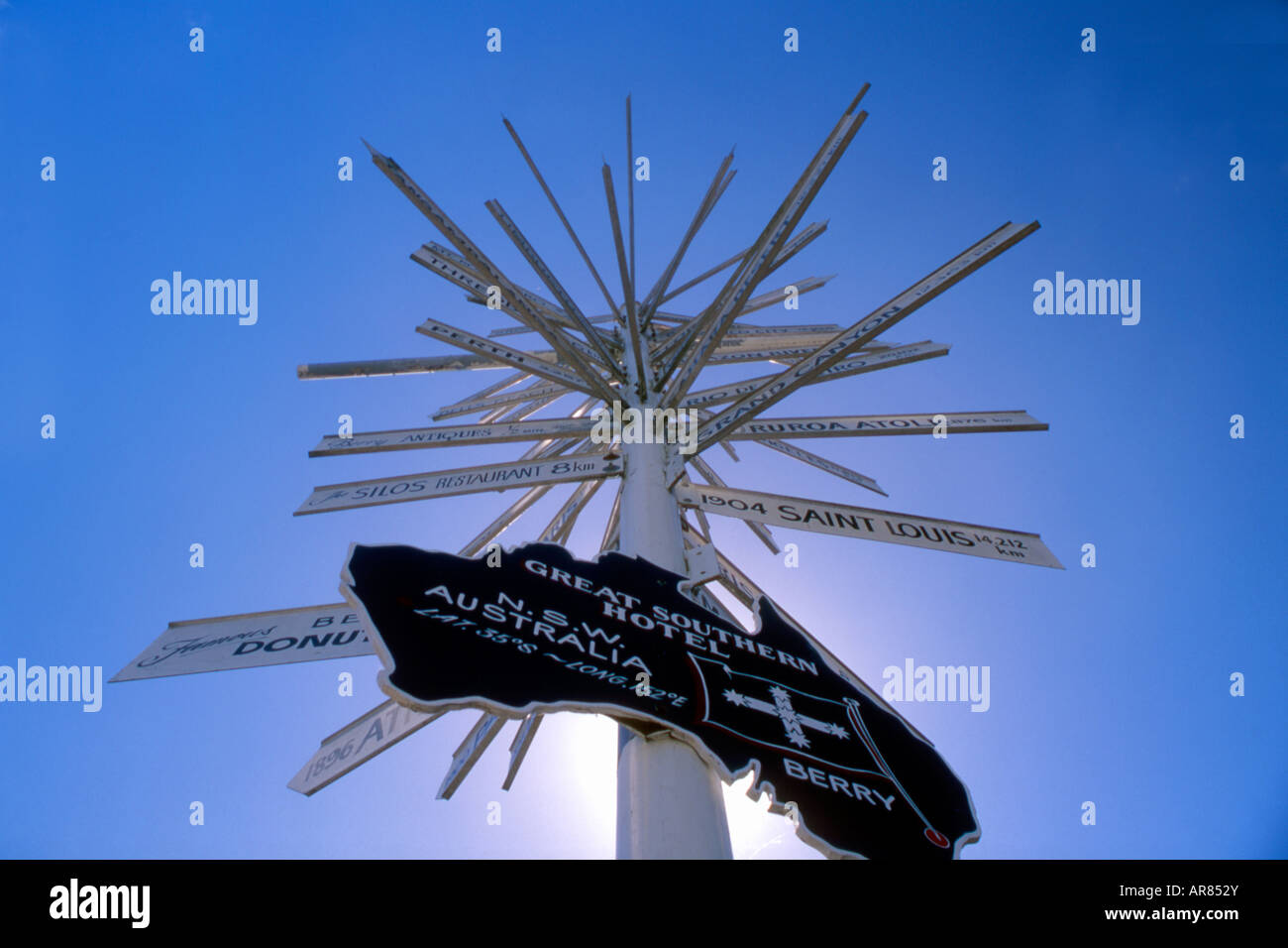 Signpost on main street in Berry New South Wales south east coast Australia - Stock Image