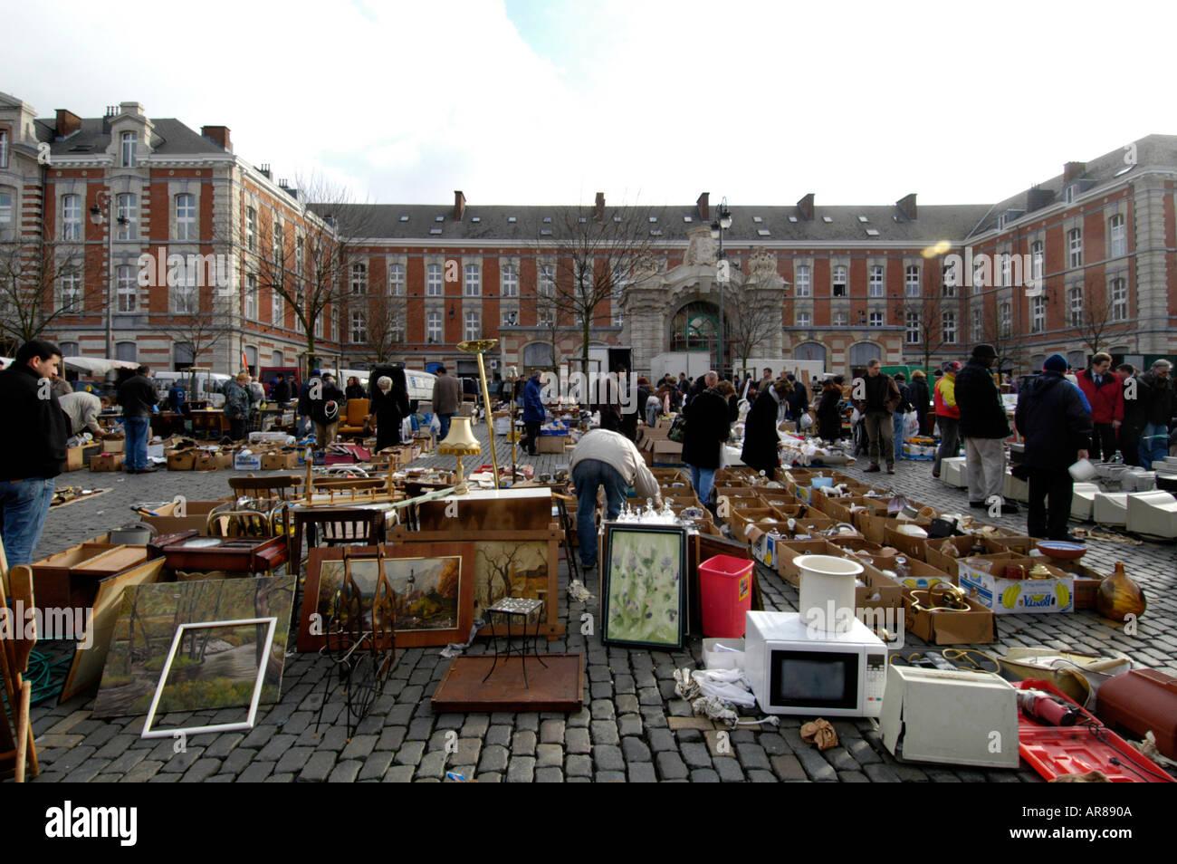 Flea market at Place Jeu de Balle Le Vieux Marche, Brussels Belgium - Stock Image
