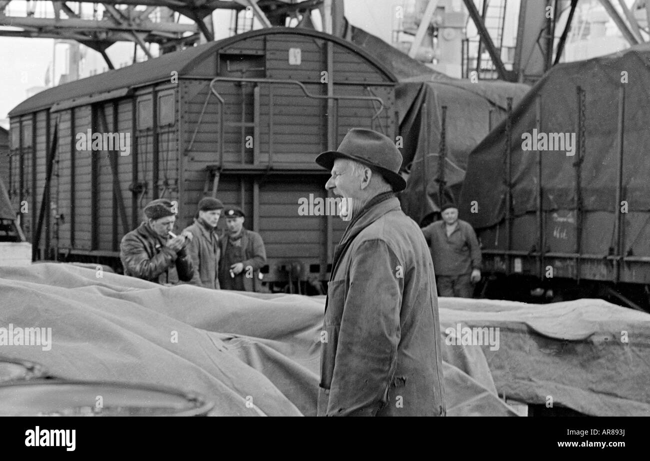 Foreman giving orders in the sixties - Stock Image