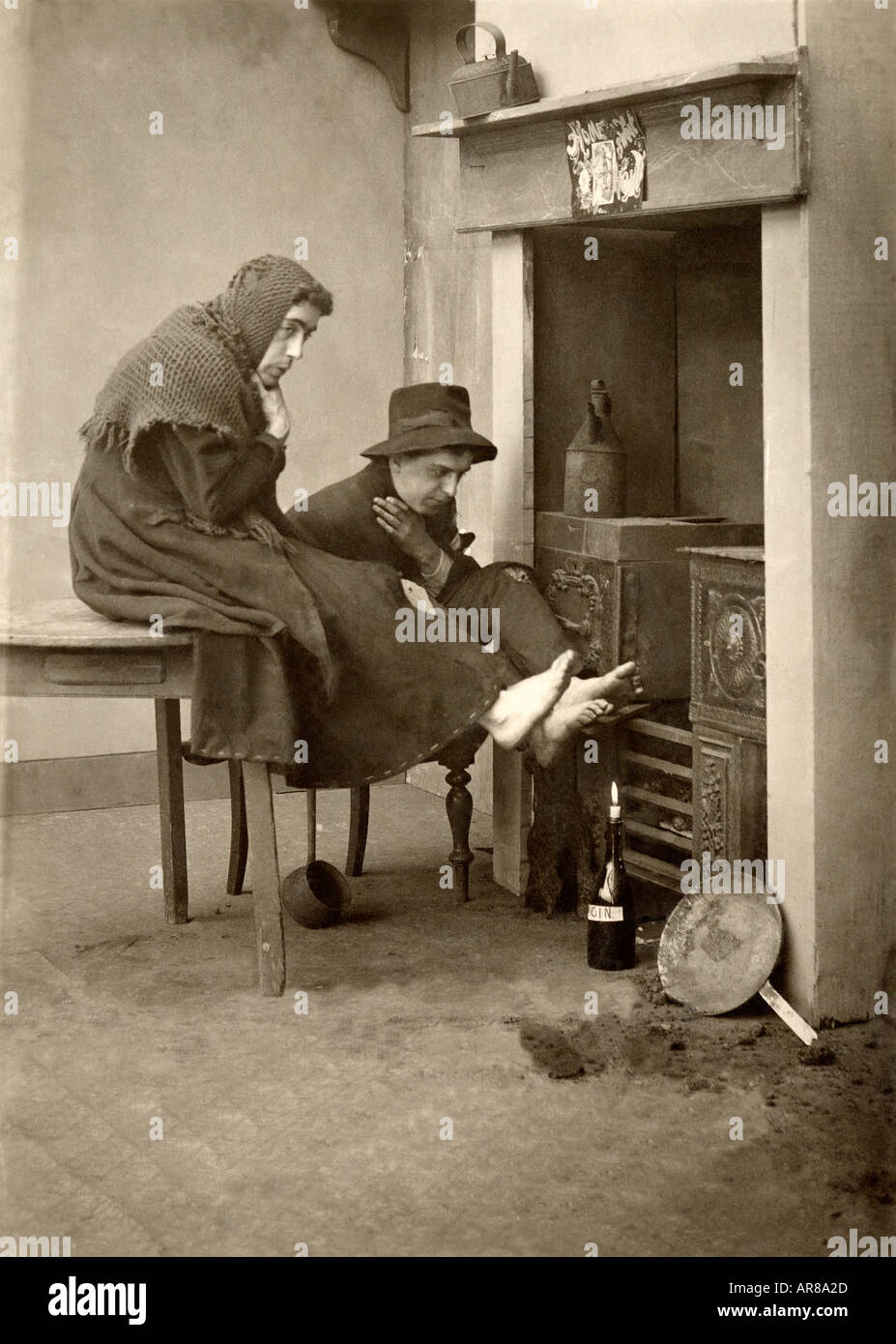 Vintage Photo of Two Old Women Warming Feet By Hearth