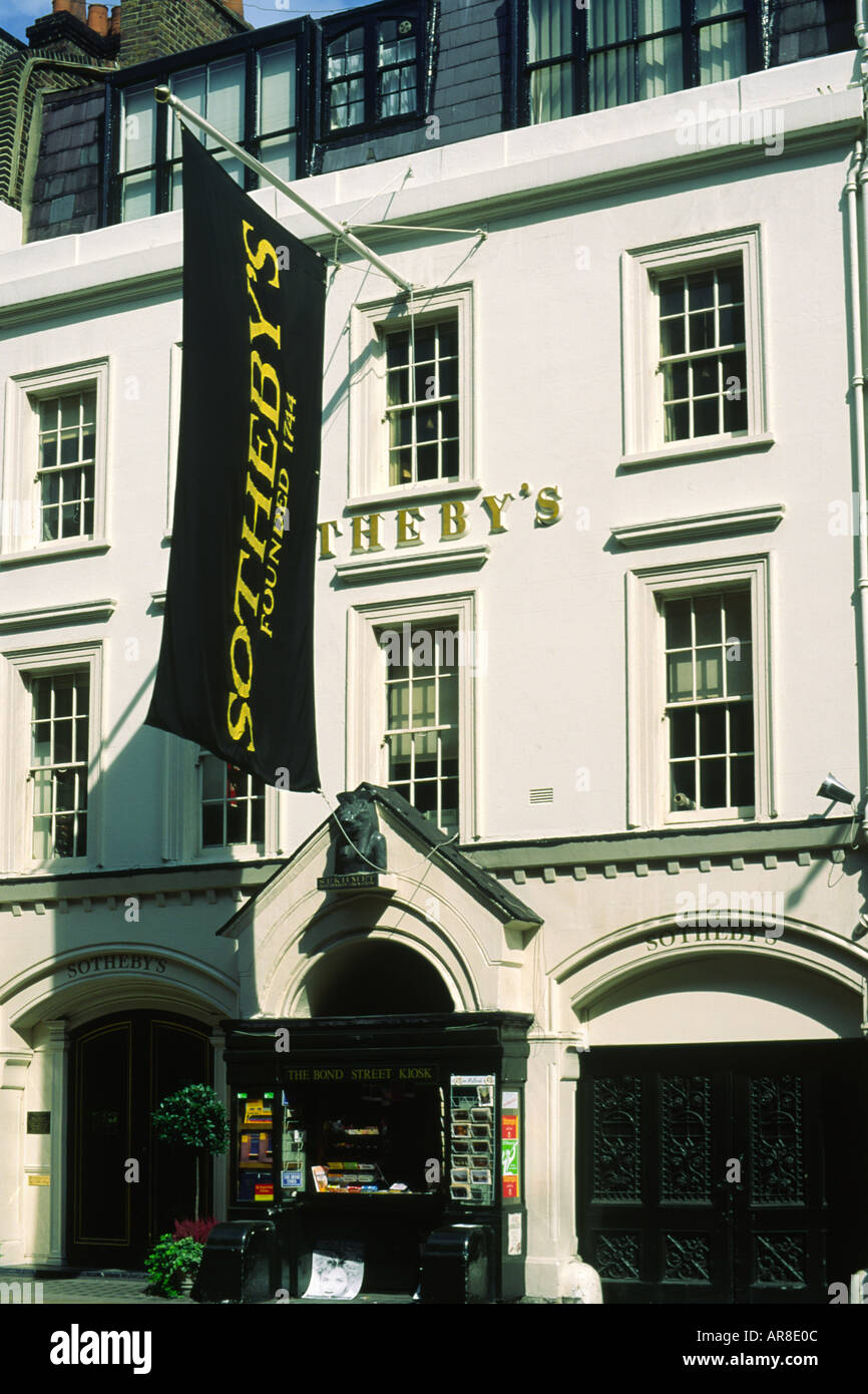 Sothebys with the Bond Street Kiosk London England Stock Photo