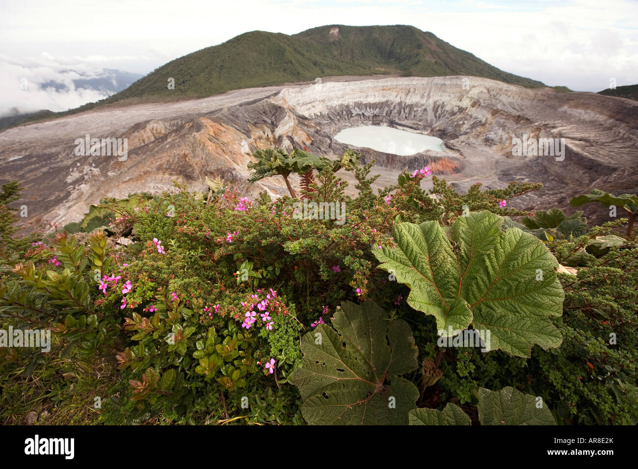 Costa Rica Poas Volcano National Park the main crater and hot lake laguna caliente - Stock Image