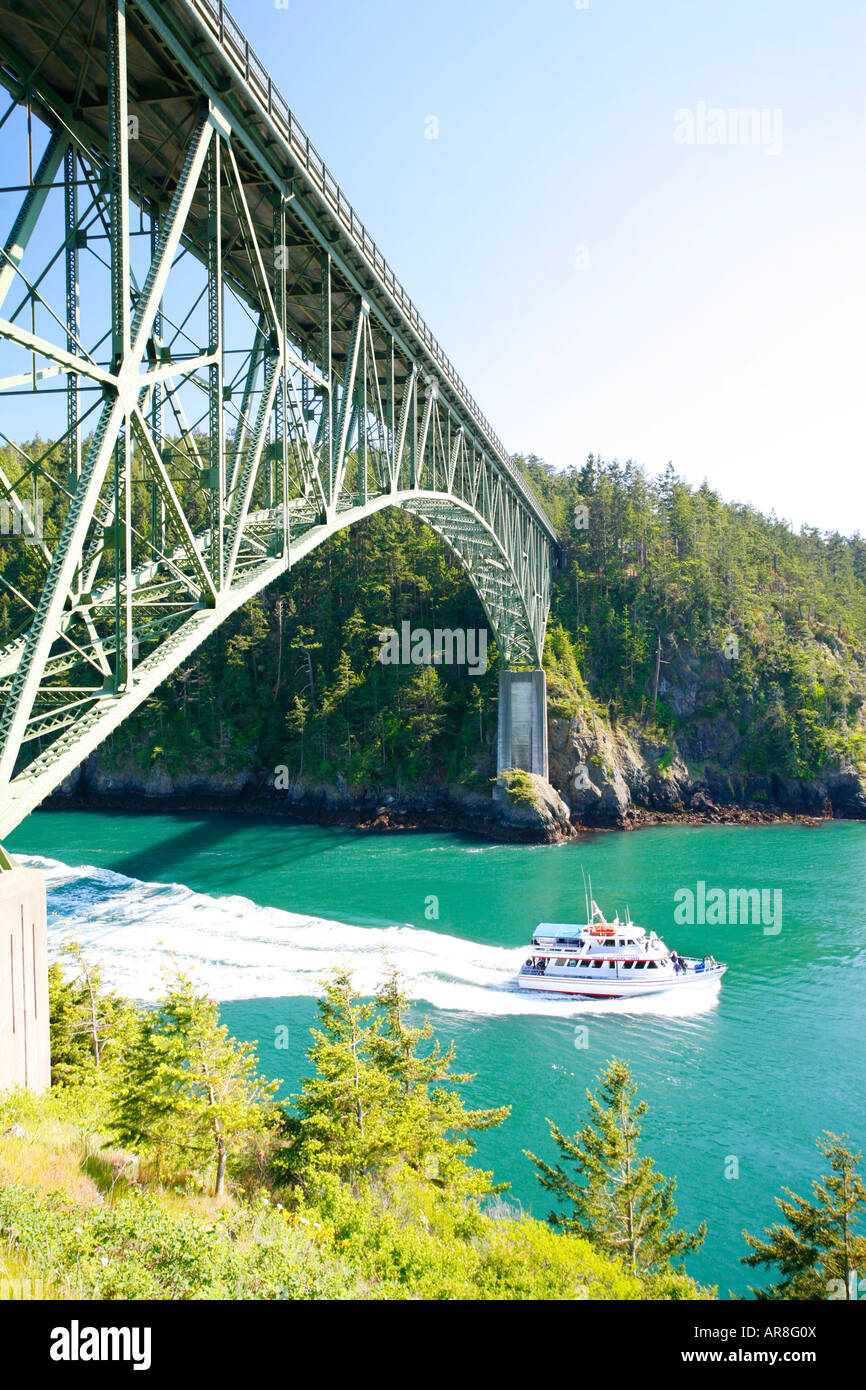 Deception Pass bridge and tour boat, Whidbey Island