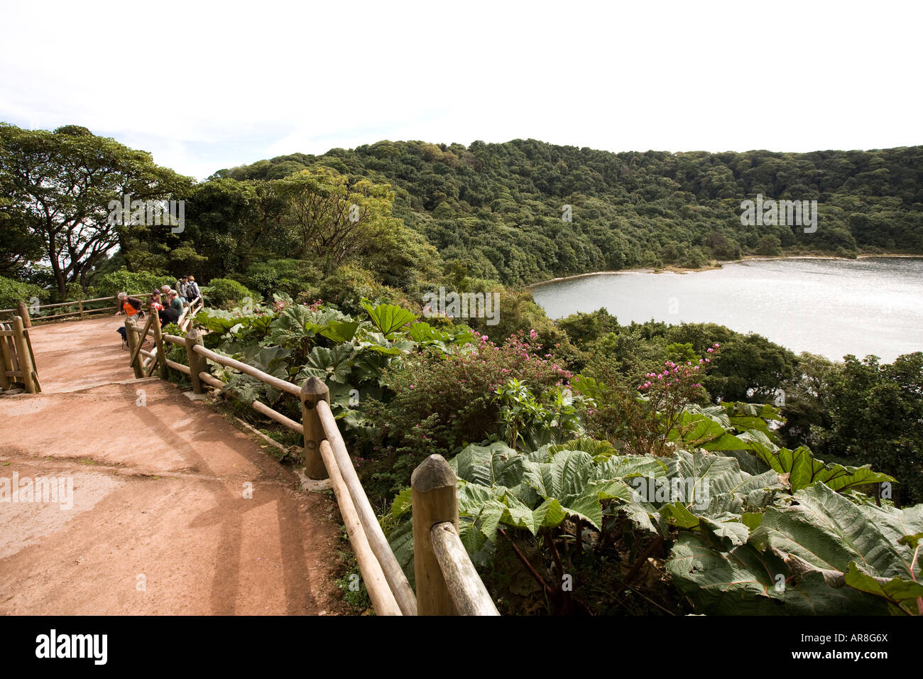 Costa Rica volcan Poas Volcano National Park Laguna Botos Lagoon people at viewpoint - Stock Image