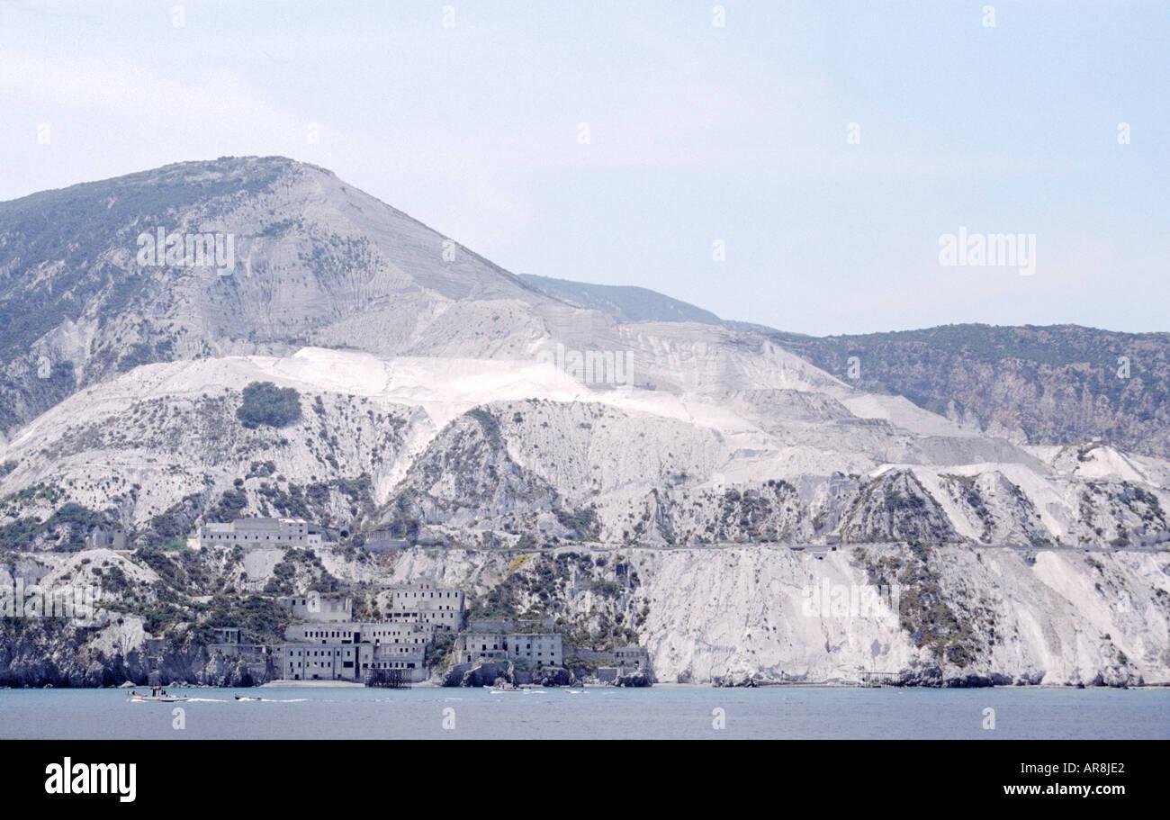 Pumice stone quarry mine on the volcanic island of Lipari, one of the Aeolian Islands, Italy. - Stock Image