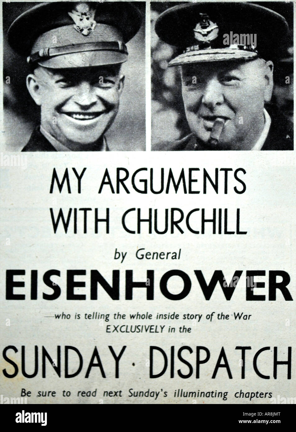 Postwar advertisement for the Sunday Dispatch For Editorial Use Only - Stock Image