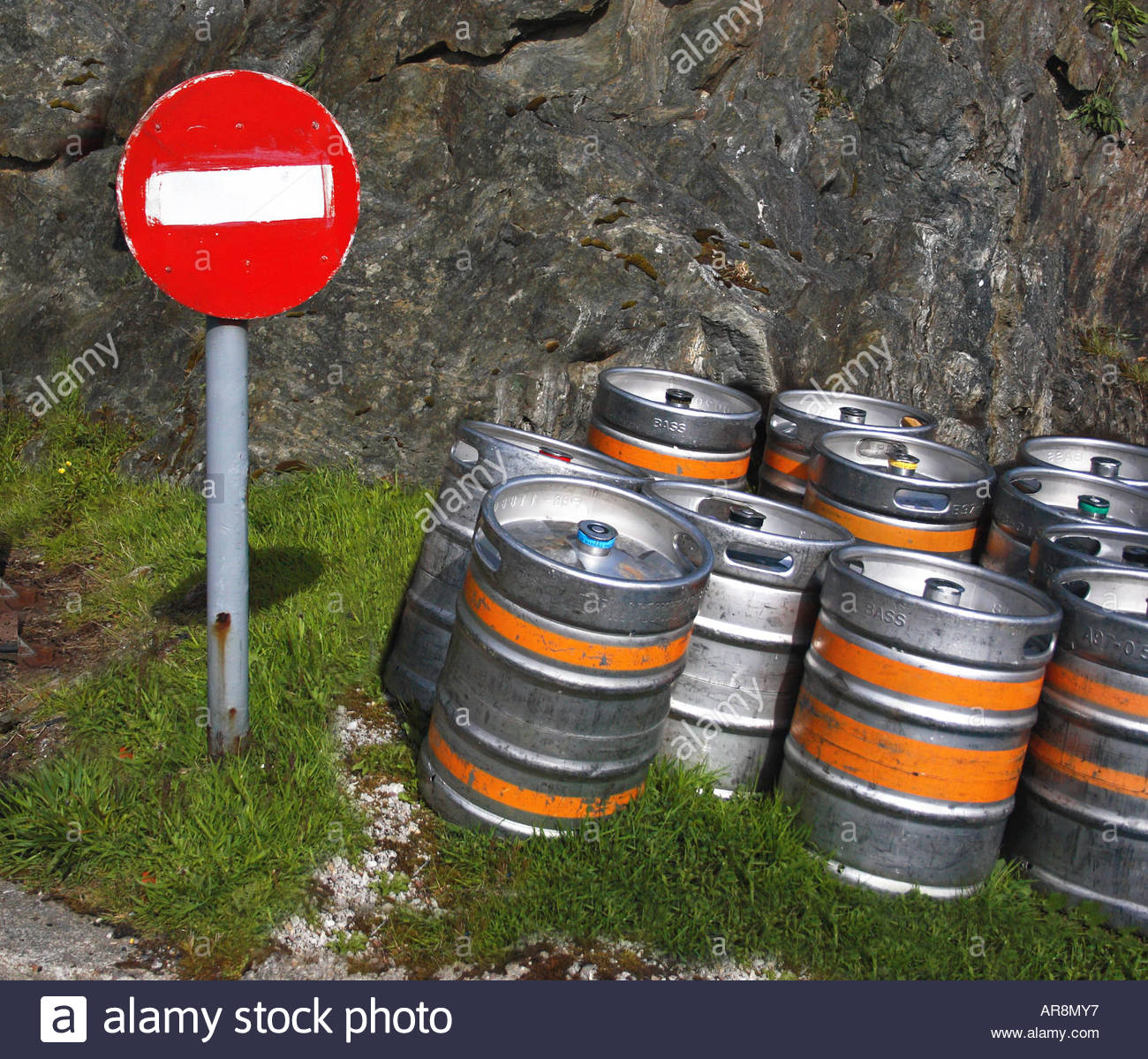 No entry - beer barrels. Kennacraig, Kintyre, waiting for the ferry to the Scottish Islands - Stock Image