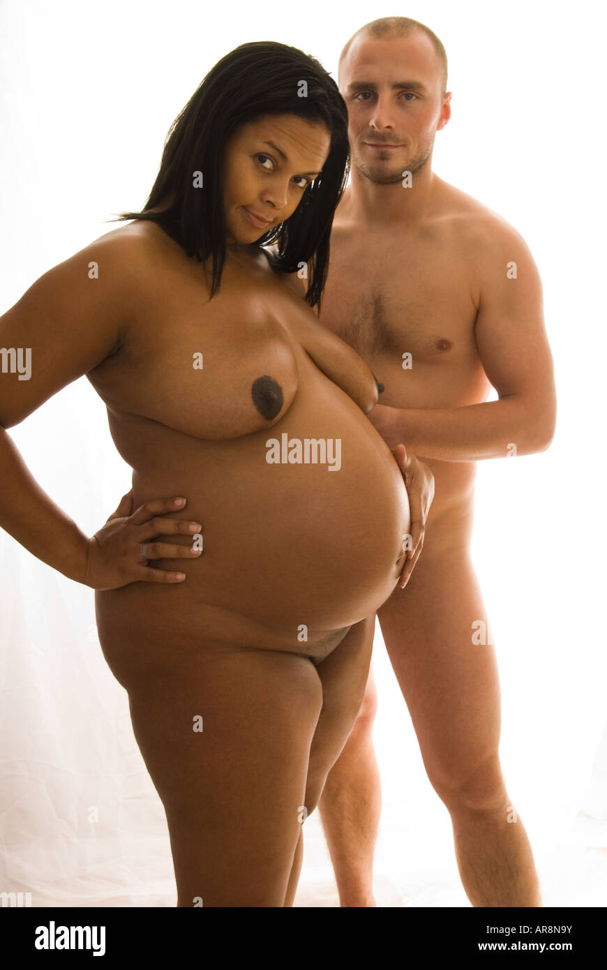 Pregnant Naked Black Woman And White Partner