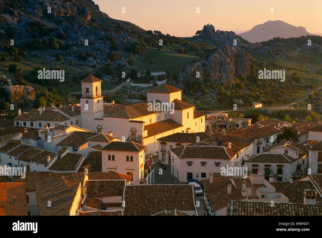 dawn at Grazalema a Pueblo Blanco nr Ronda Andalucia Spain - Stock Image
