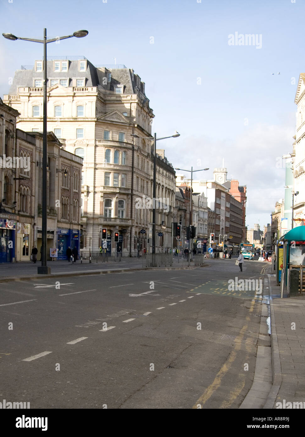 St Mary St Cardiff at midday in midweek - Stock Image