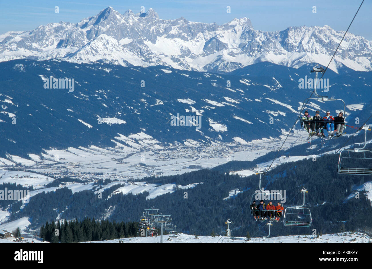 panoramic view of the austrian ski resort of flachau with the four