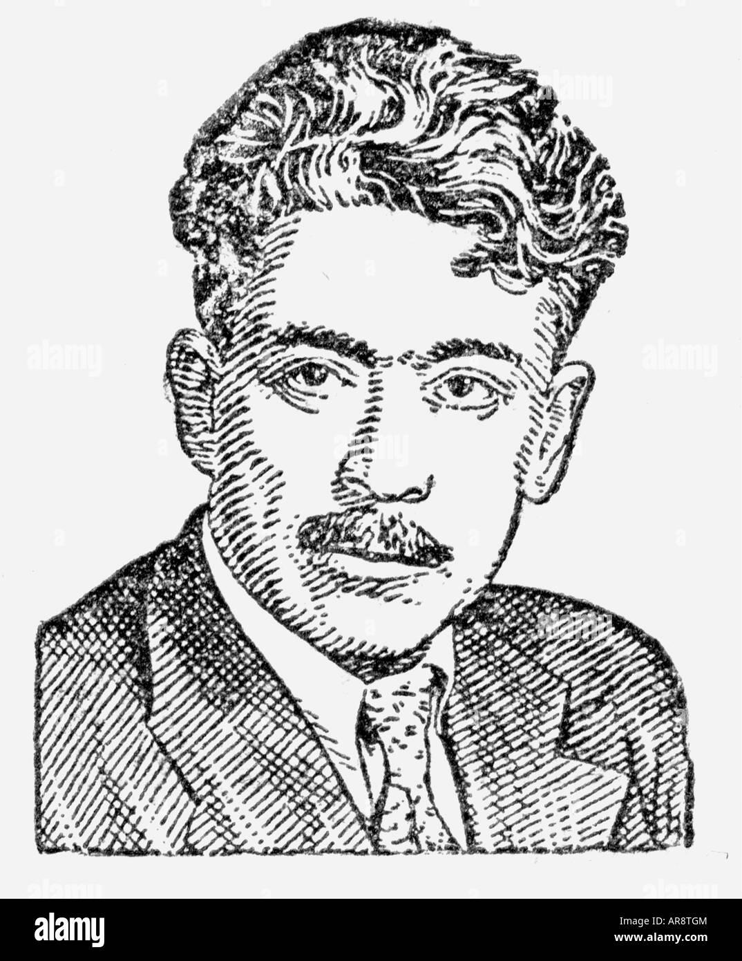 Wurgun, Samed, 1906 - 1956, Azerbaijani author / writer, portrait, anonymous drawing from a Soviet encyclopaedia, - Stock Image