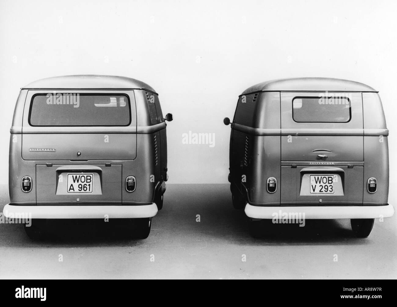 transport / transportation, car, vehicle variants, Volkswagen, VW Type 2, Transporter T2, back side view, historic, - Stock Image