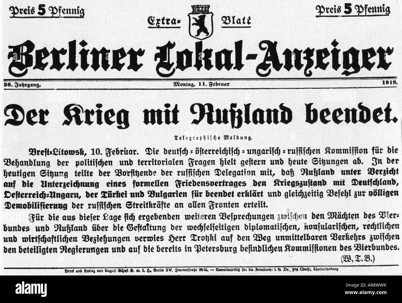 events, First World War / WWI, Eastern Front, Treaty of Brest-Litovsk, report, 'Berliner Lokal Anzeiger', - Stock Image