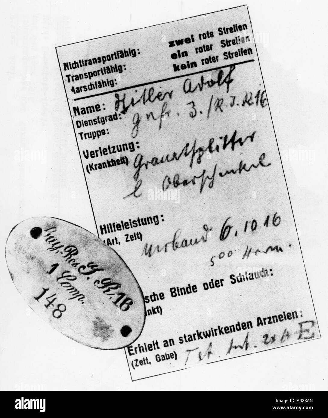 Hitler, Adolf, 20.4.1889 - 30.4.1945, German politician (NSDAP), identification tags and batch card after being - Stock Image