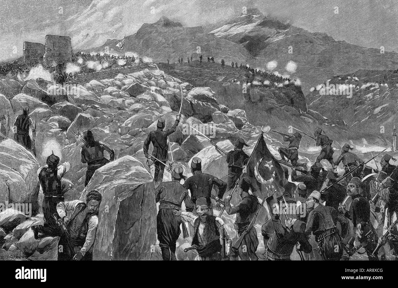 events, Cretian Insurrection 1896 - 1897, Turkish soldiers attacking a Cretian position, wood engraving, 1897, Crete, - Stock Image