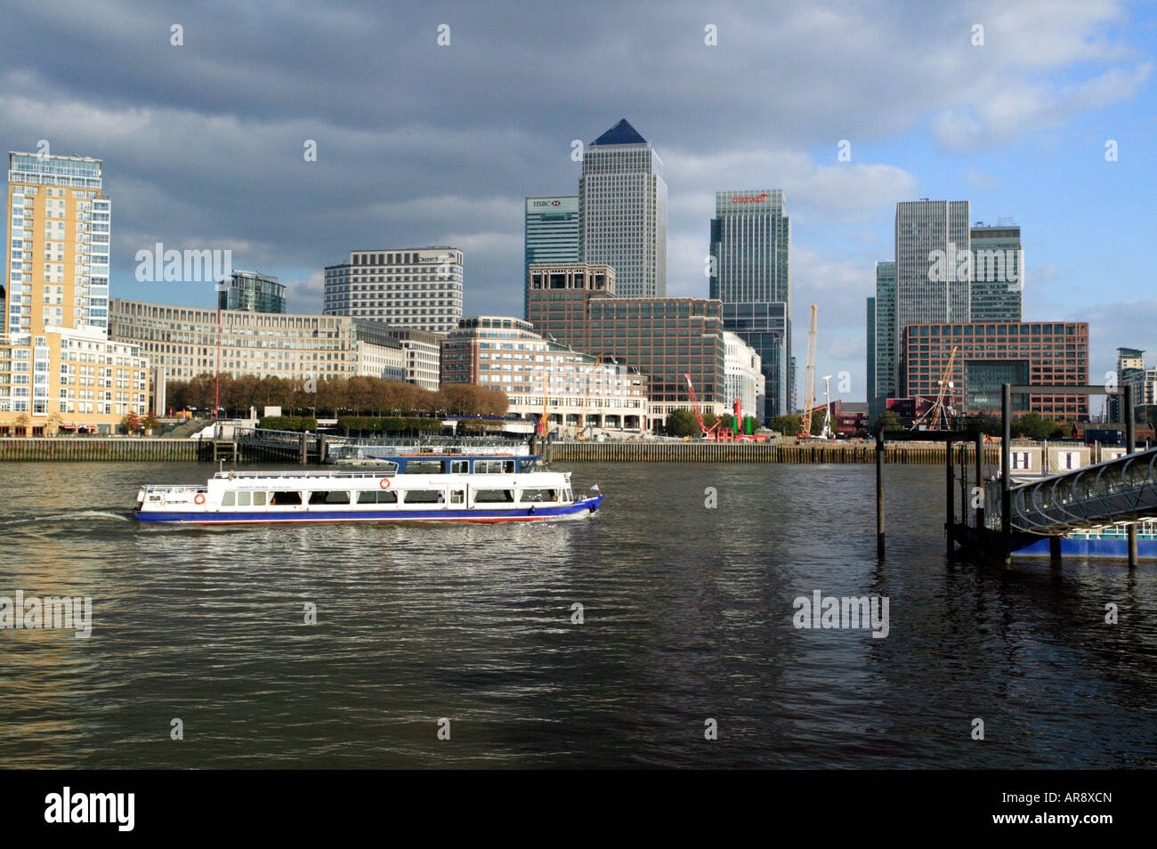 Canary Wharf Business Area from Hilton Pier, Rotherhithe - Stock Image