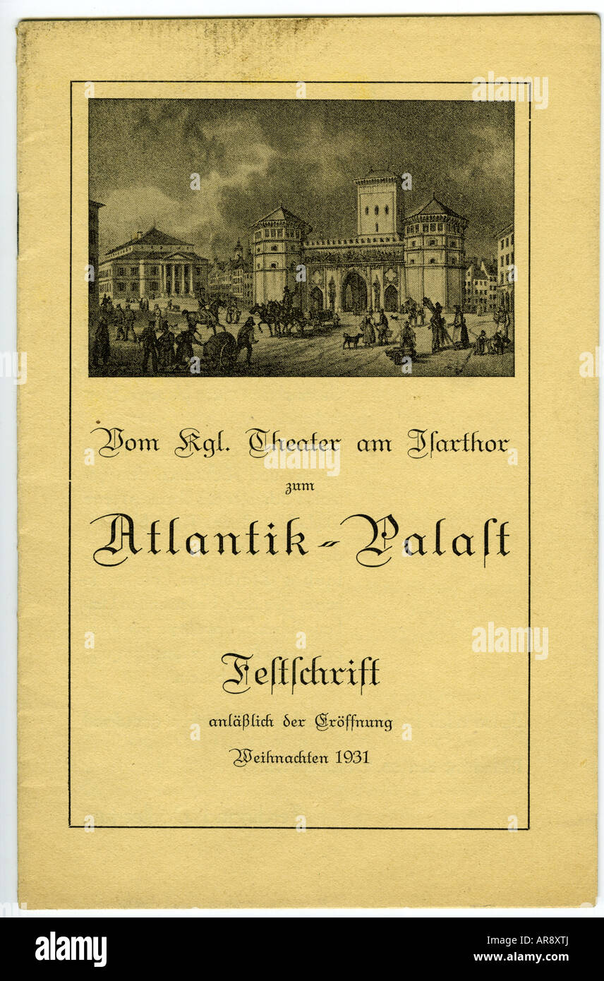movie / cinema, cinemas, Atlantikpalast, Munich, opening festschrift, 24.12.1931, Additional-Rights-Clearances-NA - Stock Image