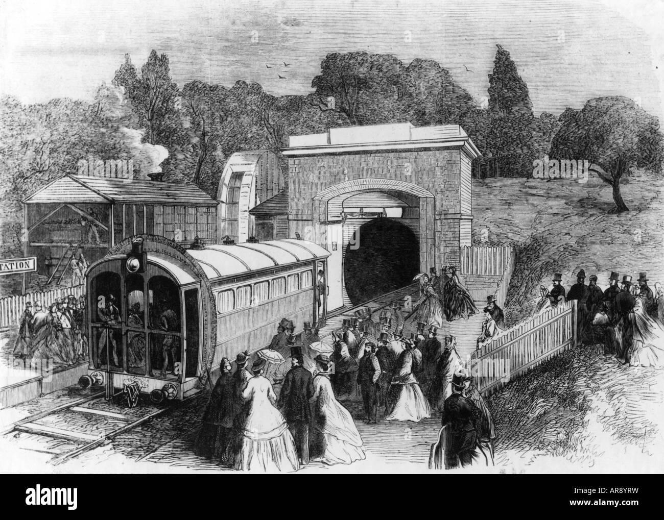 transport/transportation, railway, Great Britain, pneumatic train, Sydenham, wood engraving, 1864, Additional-Rights - Stock Image