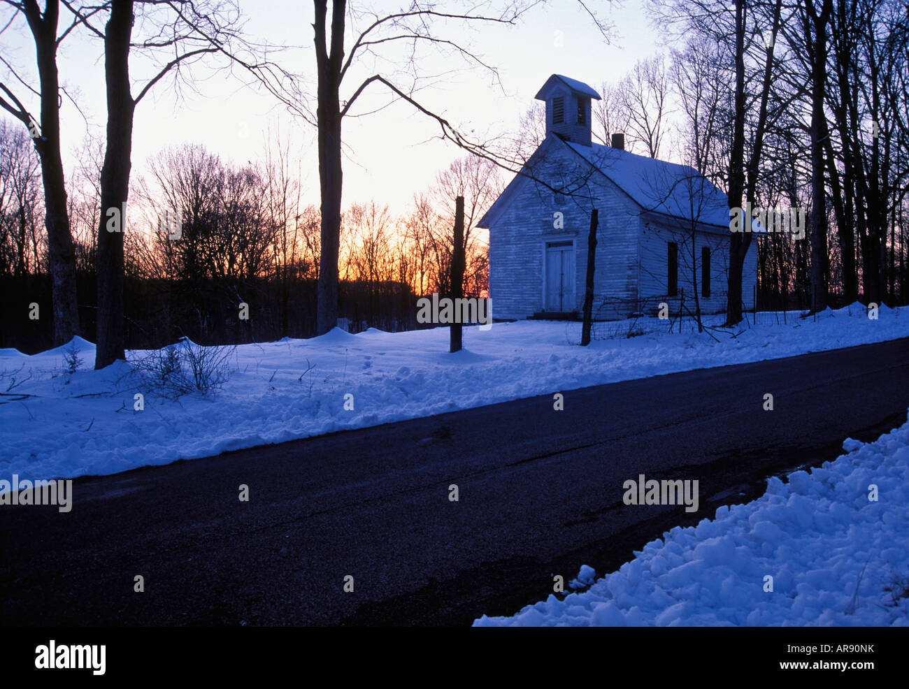 Old Country Church Blanketed In Snow At Sunset Washington County Indiana