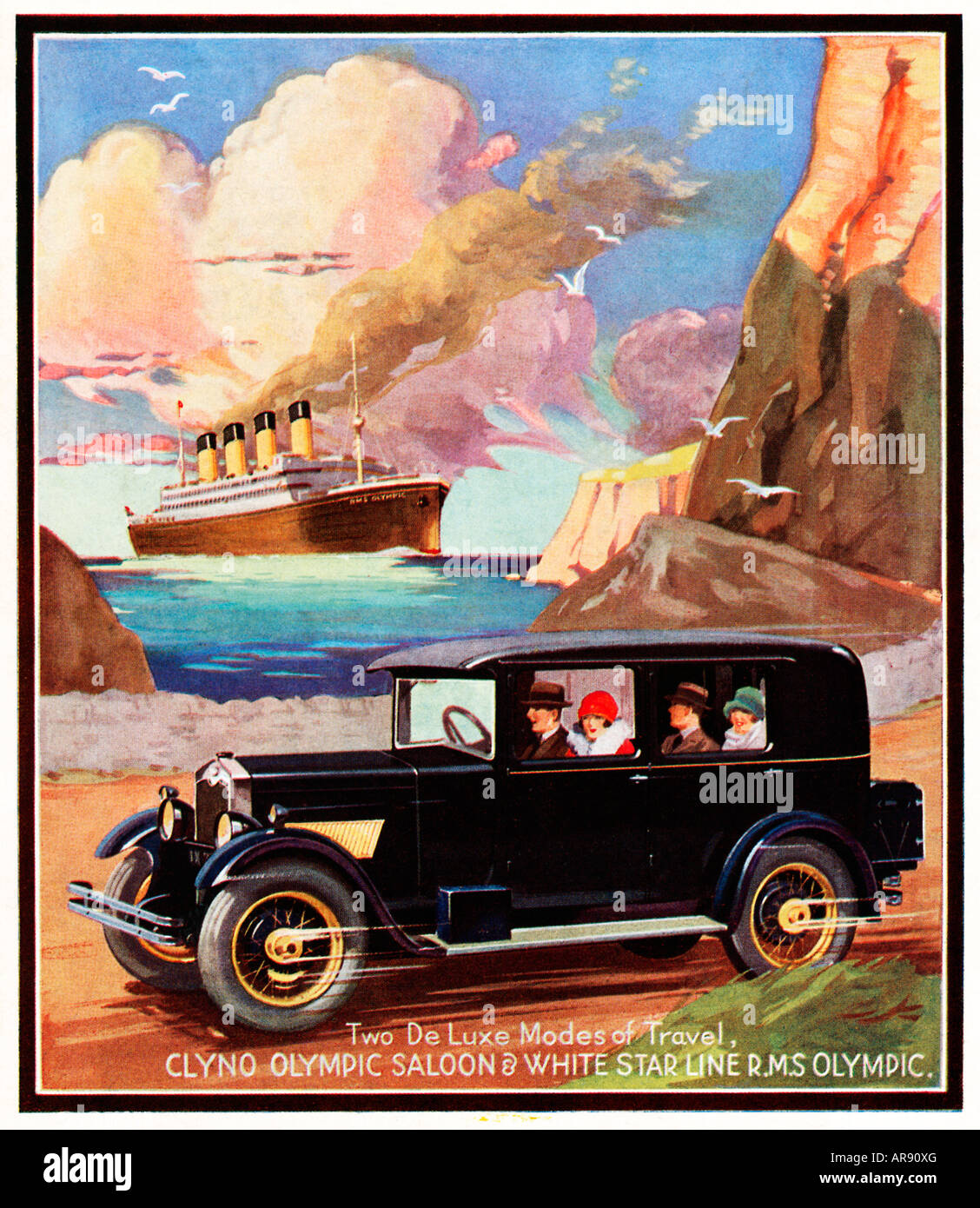 Two De Luxe Modes of Travel 1928 advert for the Clyno Olympic Saloon car White Star RMS Olympic at sea behind - Stock Image
