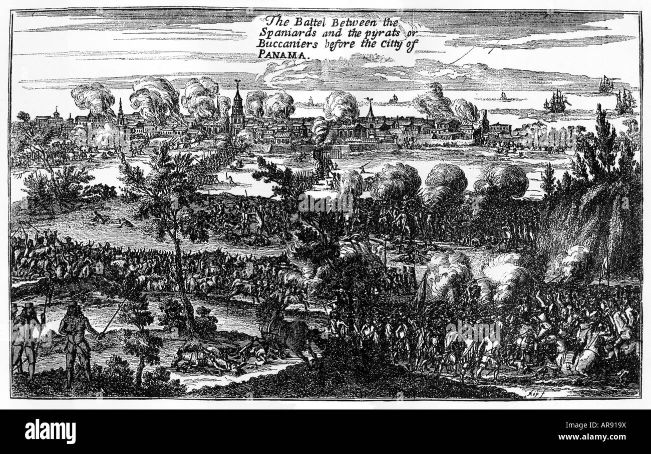 Pirates Sack Panama 1671 raid by Captain Henry Morgan on the Spanish treasure house shown by ExquemelinStock Photo
