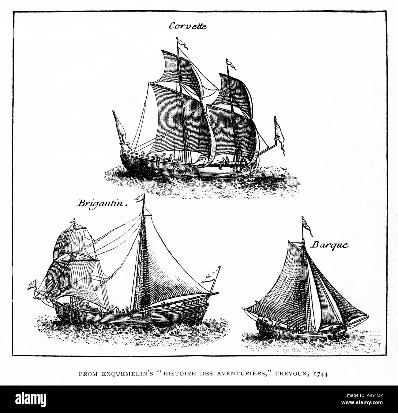 Buccaneer Ships 1700 engraving by Exquemelin of the ships used to prey upon the Spanish in the Caribbean - Stock Image