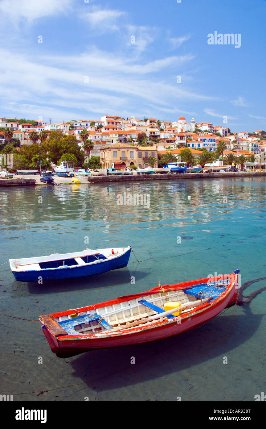 A pretty little fishing village with colorful boats at Koroni Messinia Peloponesse Greece - Stock Image