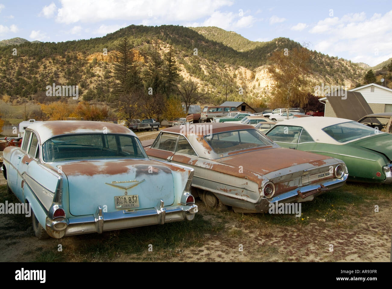 classic car junk yard scrap retro 1950\'s 1950 old Stock Photo ...