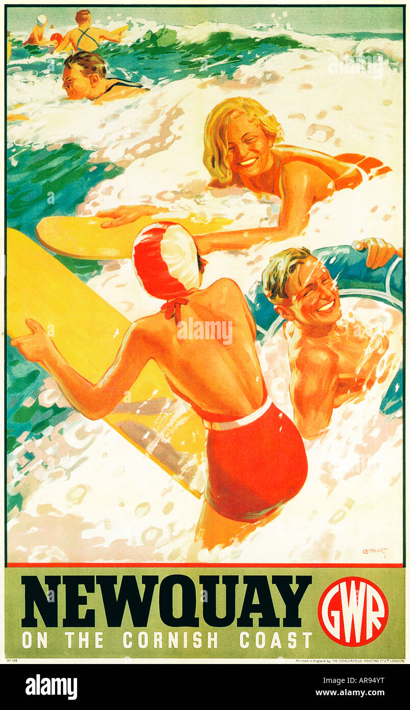 Newquay 1937 poster from the Great Western Railway to publicise the North Cornish seaside resort and its surfing - Stock Image