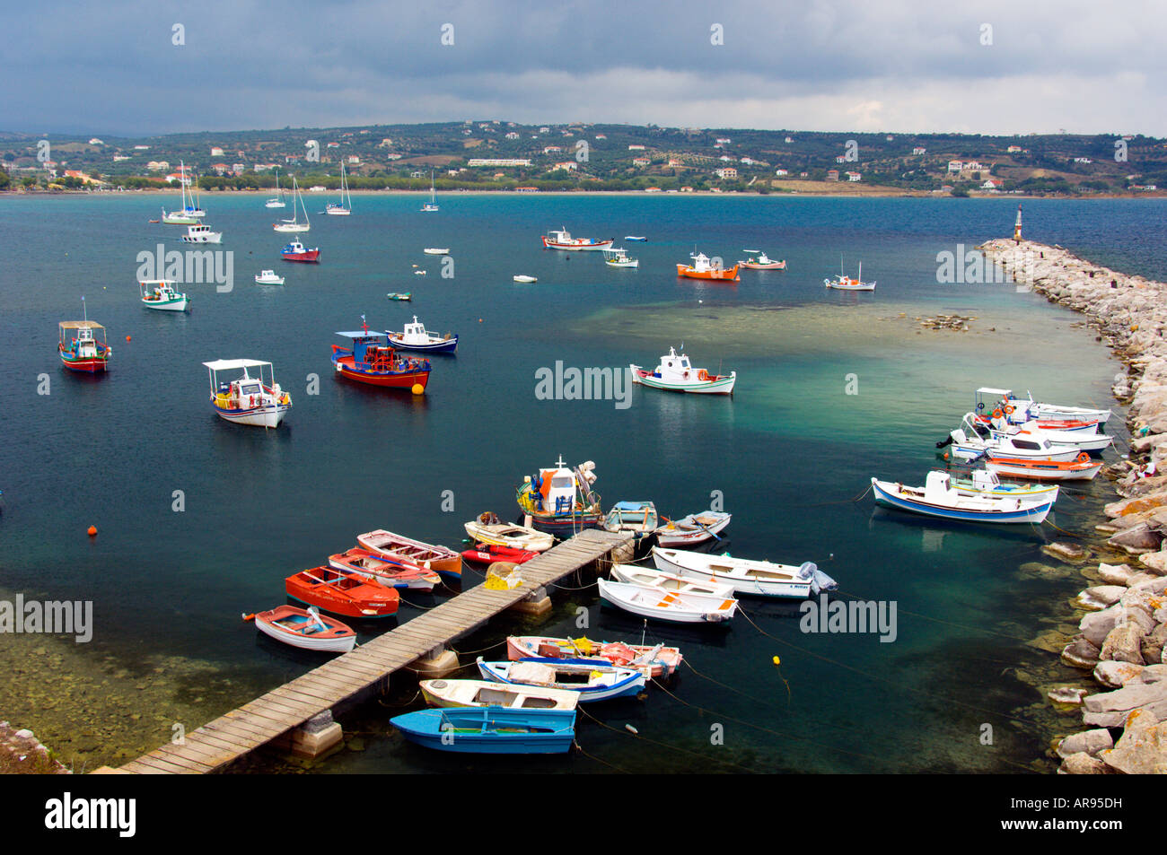 The harbour and boats at Methoni Messinia Peloponesse Greece - Stock Image